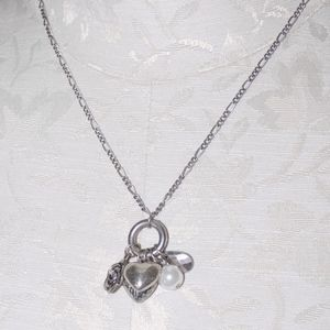 Silver Charm Necklace Hearts Rose Pearl NWT
